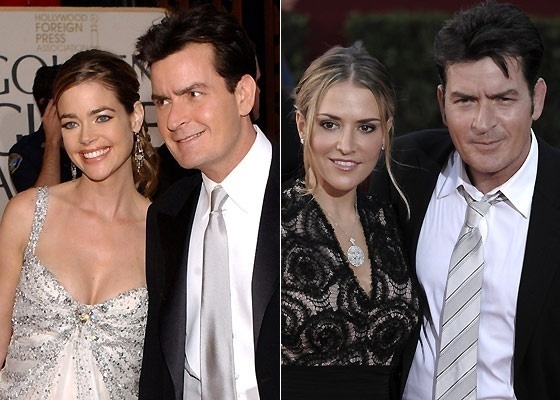 O ator Charlie Sheen com as ex-mulheres Denise Richards (esq.) e Brooke Mueller (dir.)