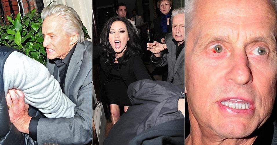 24.fev.2011 - Michael Douglas e Catherine Zeta-Jones se envolvem em confusão com fotógrafo, após a atriz dizer que o mesmo a havia agredido na porta de hotel em Londres