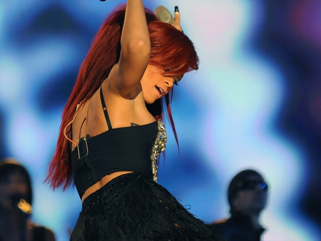 Rihanna durante apresentação no NBA All-Star Game, em Los Angeles (20/2/2011)