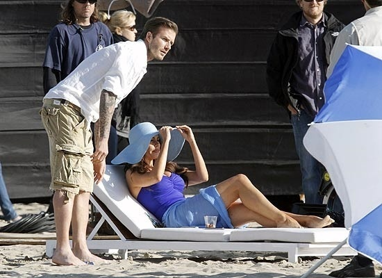 David Beckham e Sofia Vergara gravam comercial em Santa Monica (mar/2011)