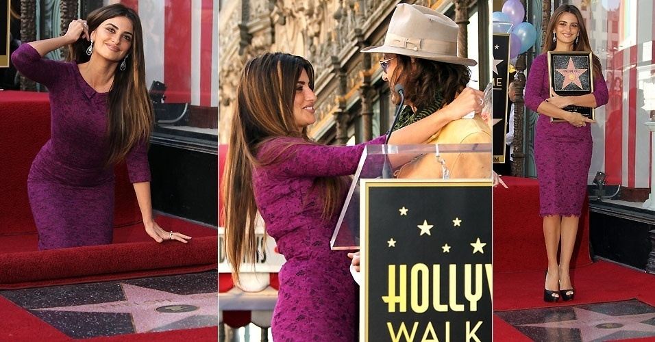 Penélope Cruz é homenageada com estrela na Calçada da Fama de Hollywood e teve companhia de Johnny Depp (1/4/2011)