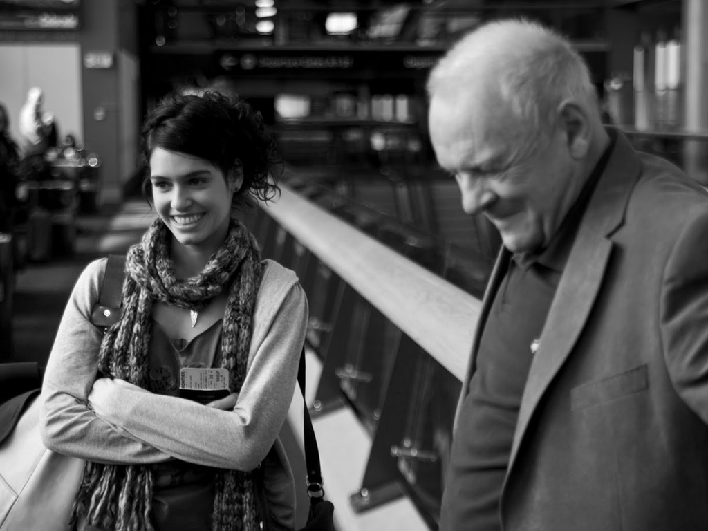 Maria Flor e Anthony Hopkins nas filmagens de