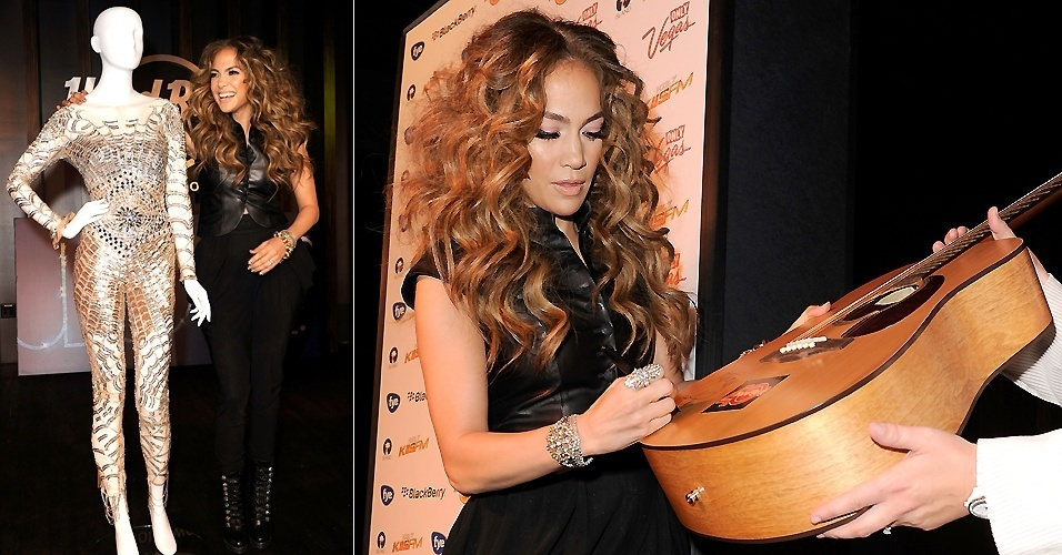Jennifer Lopez autografa e doa um violão e uma roupa que usou durante uma apresentação no