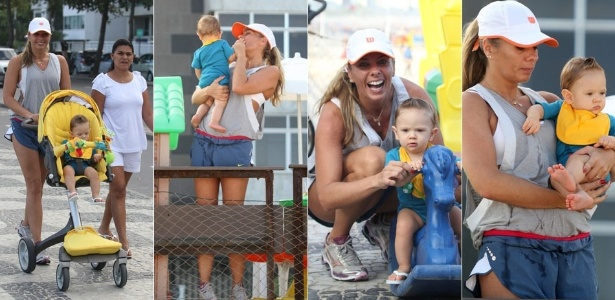 Adriane Galisteu passeia com o filho pela orla do Leblon (7/5/11)