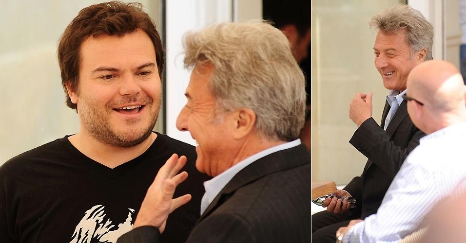 Jack Black e Dustin Hoffman conversam antes de sessão de fotos de divulgação de