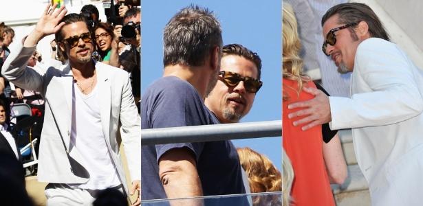 """O ator Brad Pitt acena para fãs ao chegar para sessão de fotos de divulgação do filme """"A Árvore da Vida"""", em Cannes (16/5/2011)"""