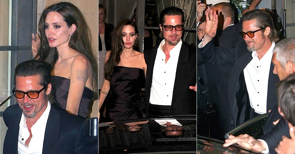 Angelina Jolie aparenta cansaço, enquanto Brad Pitt sorri para fãs e imprensa na saída da festa do filme