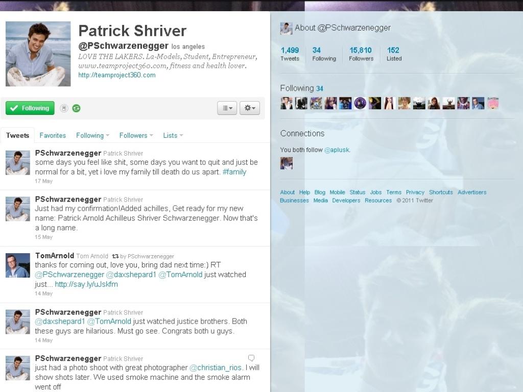 Perfil do filho de Patrick Arnold Achilleus Shriver Schwarzenegger, filho de Arnold Schwarzenegger e Maria Shriver,(18/5/11)