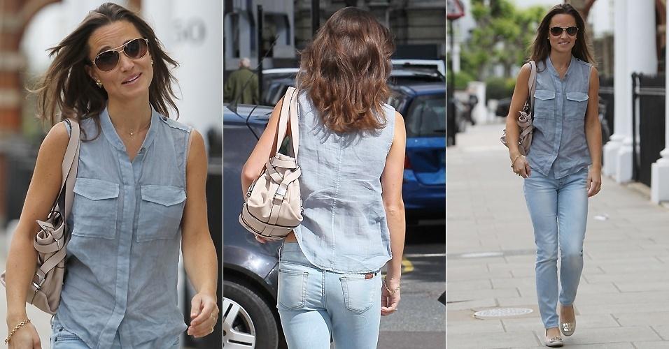 Pippa Middleton, irmã da duquesa Catherine, é fotografada enquanto passeia por Kensington, em Londres (19/5/2011)