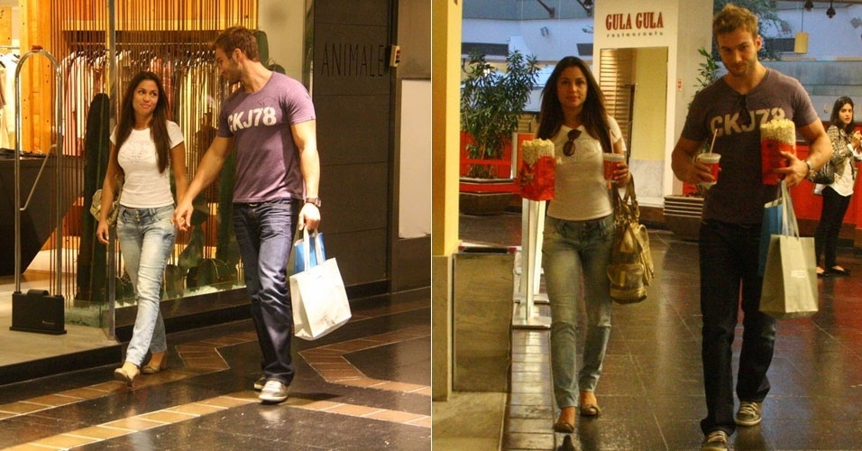 Os ex-bbbs Maria e Wesley so fotografados em shopping no Rio de Janeiro (21/5/11)