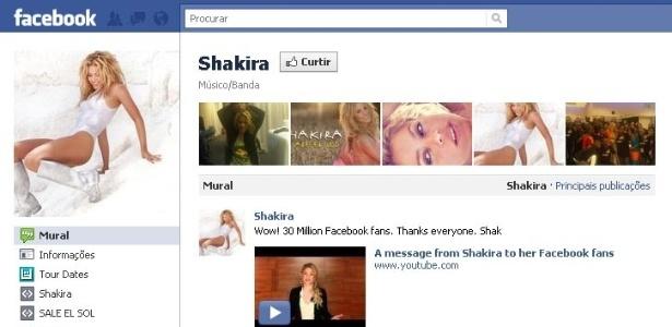 Página da cantora Shakira no Facebook