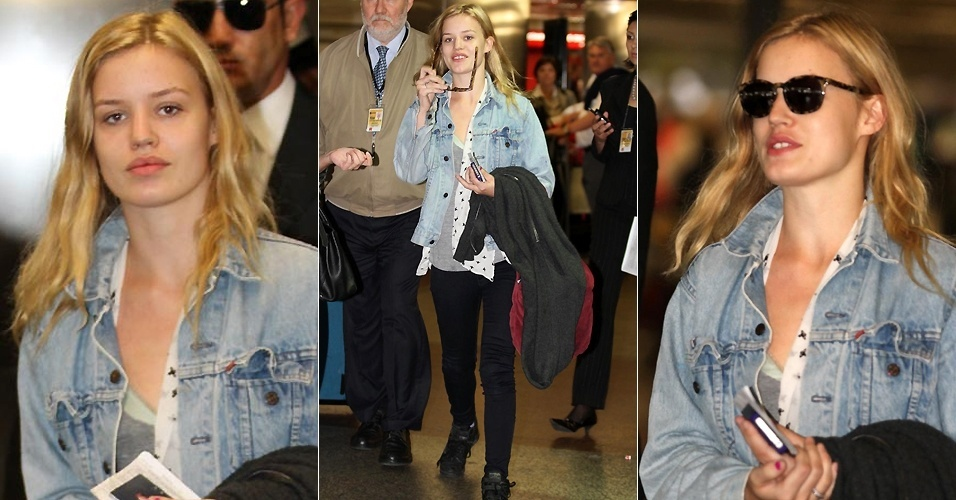 A modelo Goergia Jagger, filha do cantor Mick Jagger, desembarca no aeroporto internacional de São Paulo (26/5/2011)