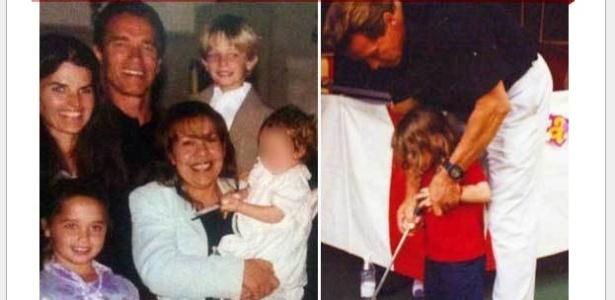 O site TMZ publicou fotos pessoais do ator Arnold Schwarzenegger (26/5). Entre as fotos, estão uma em que ele aparece com Maria Shriver, os filhos, a empregada Mildred Patty Baena, e o filho dos dois (no colo).
