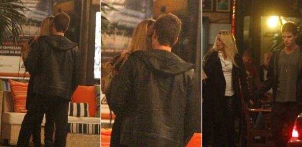 Os atores Jonatas Faro e Danielle Winits se beijam em churrascaria na Barra da Tijuca (29/5/11)