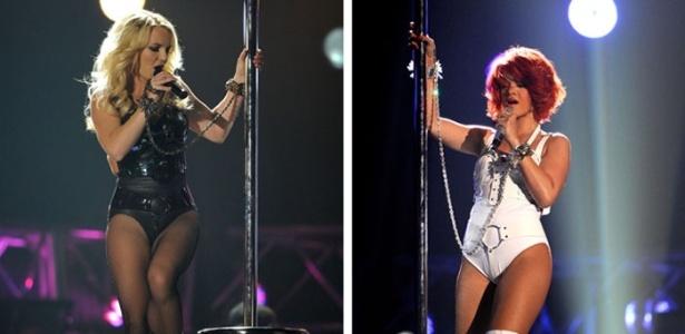 Britney Spears e Rihanna fazem pole dancing durante show