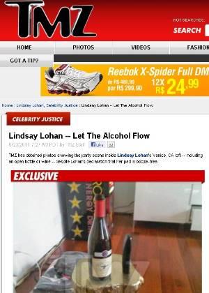 Site TMZ publica foto de garrafa de bebida na casa de Lindsay Lohan no dia em que a atriz deu uma festa, enquanto está em prisão domiciliar (23/6/2011)