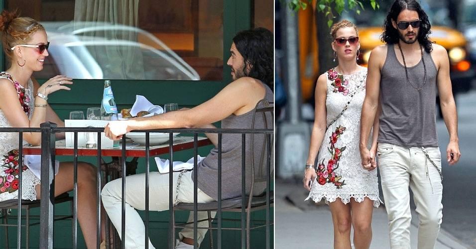 Katy Perry almoça com o marido, Russell Brand, em Nova York (1/7/11)