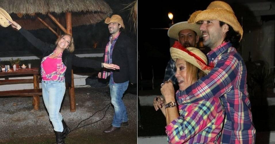 Susana Vieira curte festa julina ao lado do namorado, Sandro Pedroso (2/7/11)