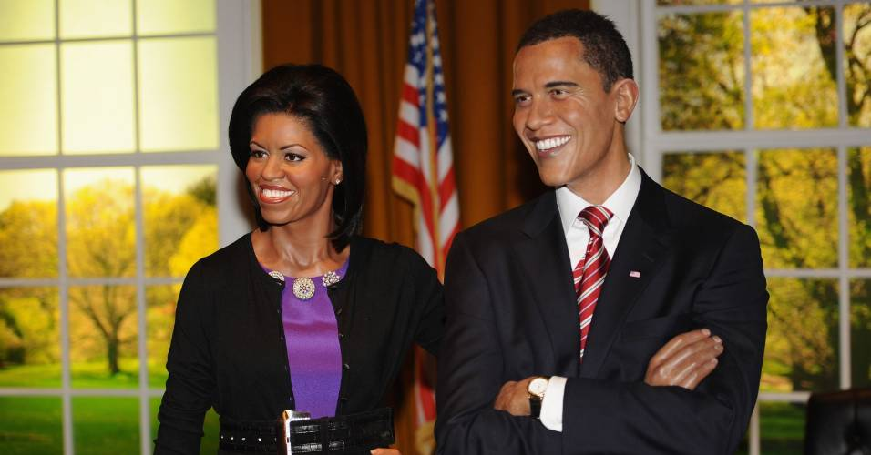 Figuras de cera do presidente Barack Obama e sua mulher Michelle Obama no museu Madame Tussauds de Londres (19/1/2010)