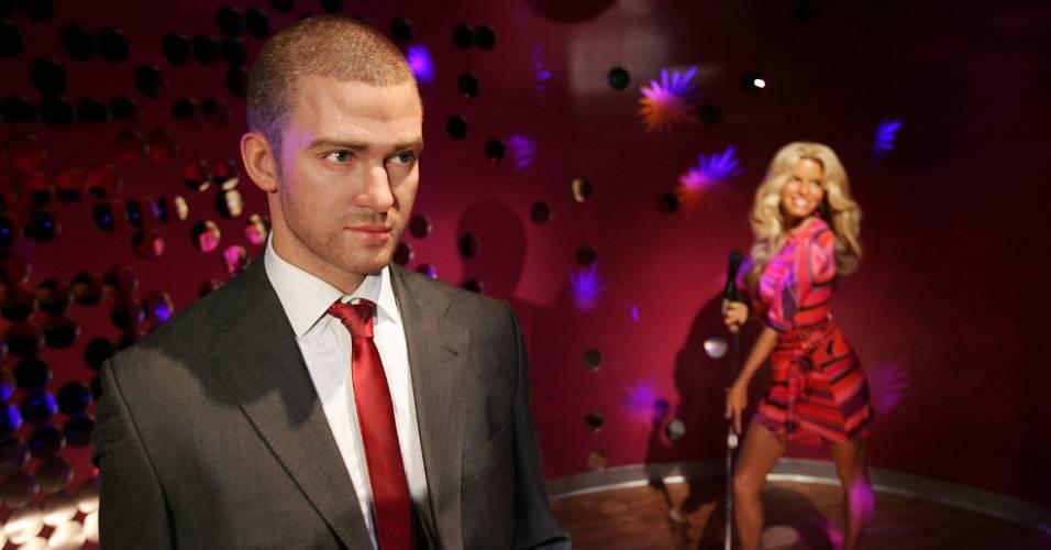 Figuras de cera dos cantores Justin Timberlake (esq.) e Jessica Simpson no museu Madame Tussauds de Nova York (28/6/2007)