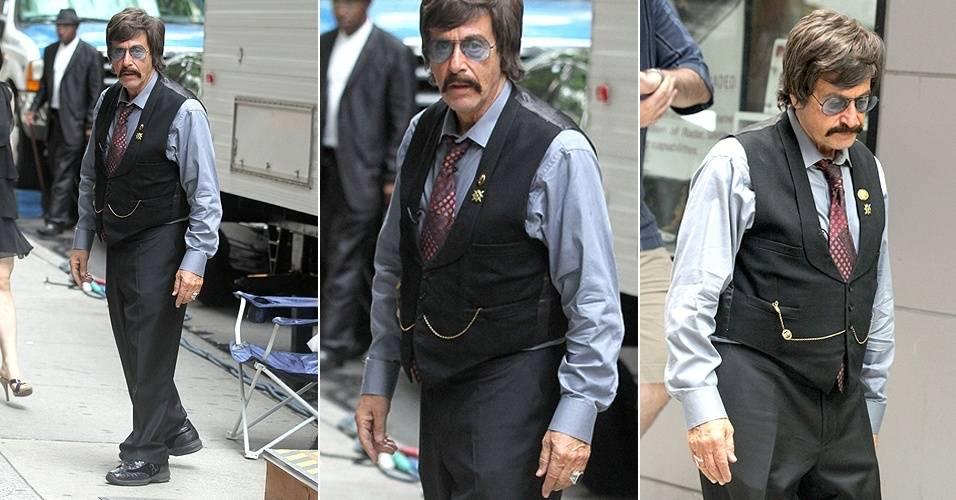 Em Nova York, Al Pacino foi fotografado no set de filmagem do filme