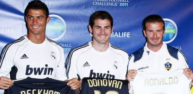 Cristiano Ronaldo, Iker Casillas e David Beckham participam do evento