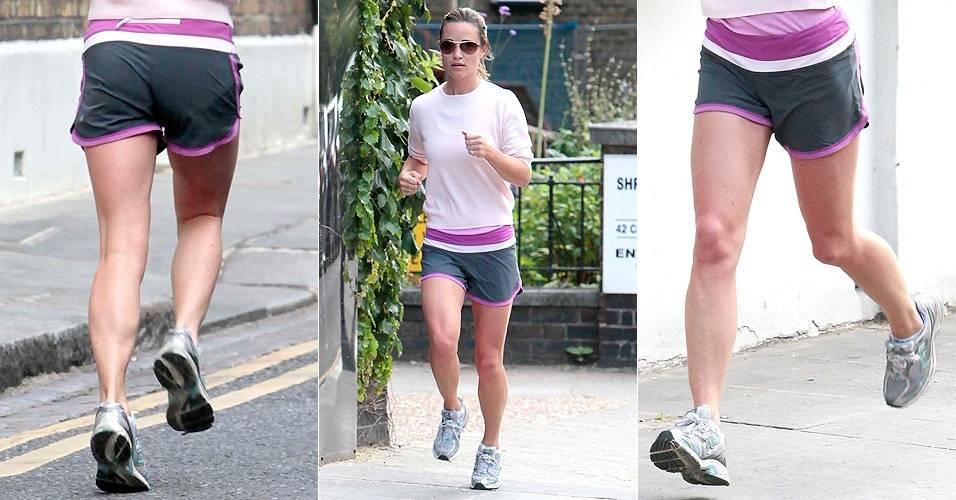 Pippa Middleton, um dos alvos mais recentes dos paparazzi, treina perto de sua casa, em Londres (14/7/11). Pippa gosta de correr e costuma participar de maratonas