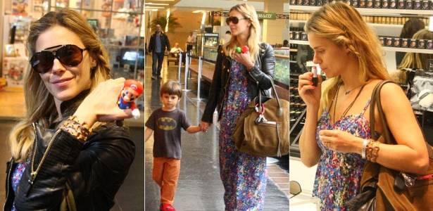 Carolina Dieckmann e o filho José em shopping da zona sul do Rio (19/7/2011)