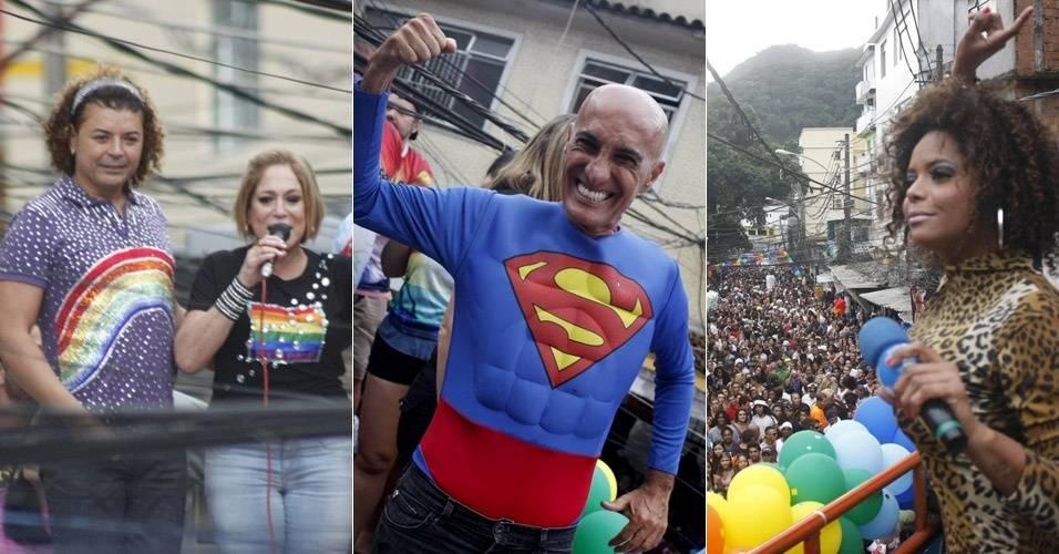 David Brazil, Susana Vieira, Amin Khader e Adriana Bombom participam de 2ª Parada Gay da Rocinha (24/7/11)