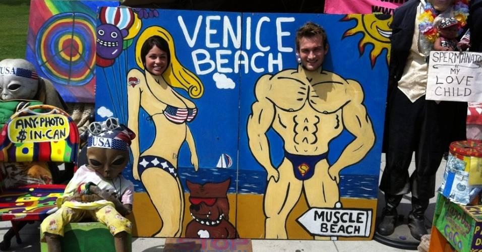 Maria e Wesley posam para foto na Califórnia, nos Estados Unidos (26/7/2011)