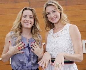 Regiane Alves e Luana Piovani durante gravação do