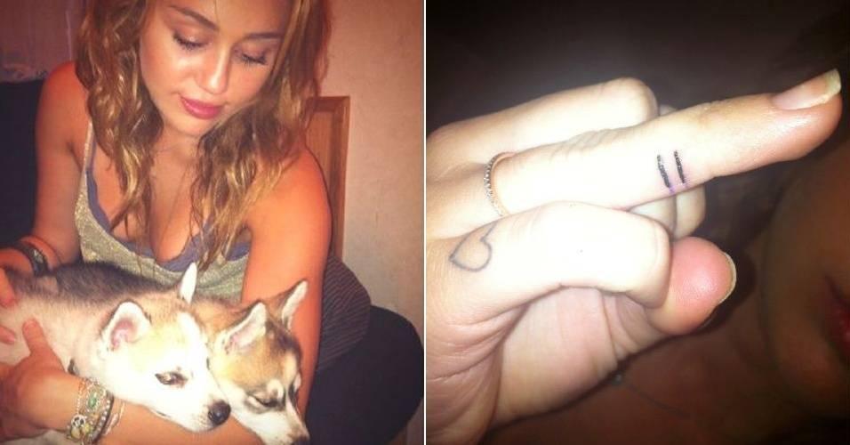 Cantora Miley Cyrus exibe tatuagem em apoio ao casamento gay (30/7/11)