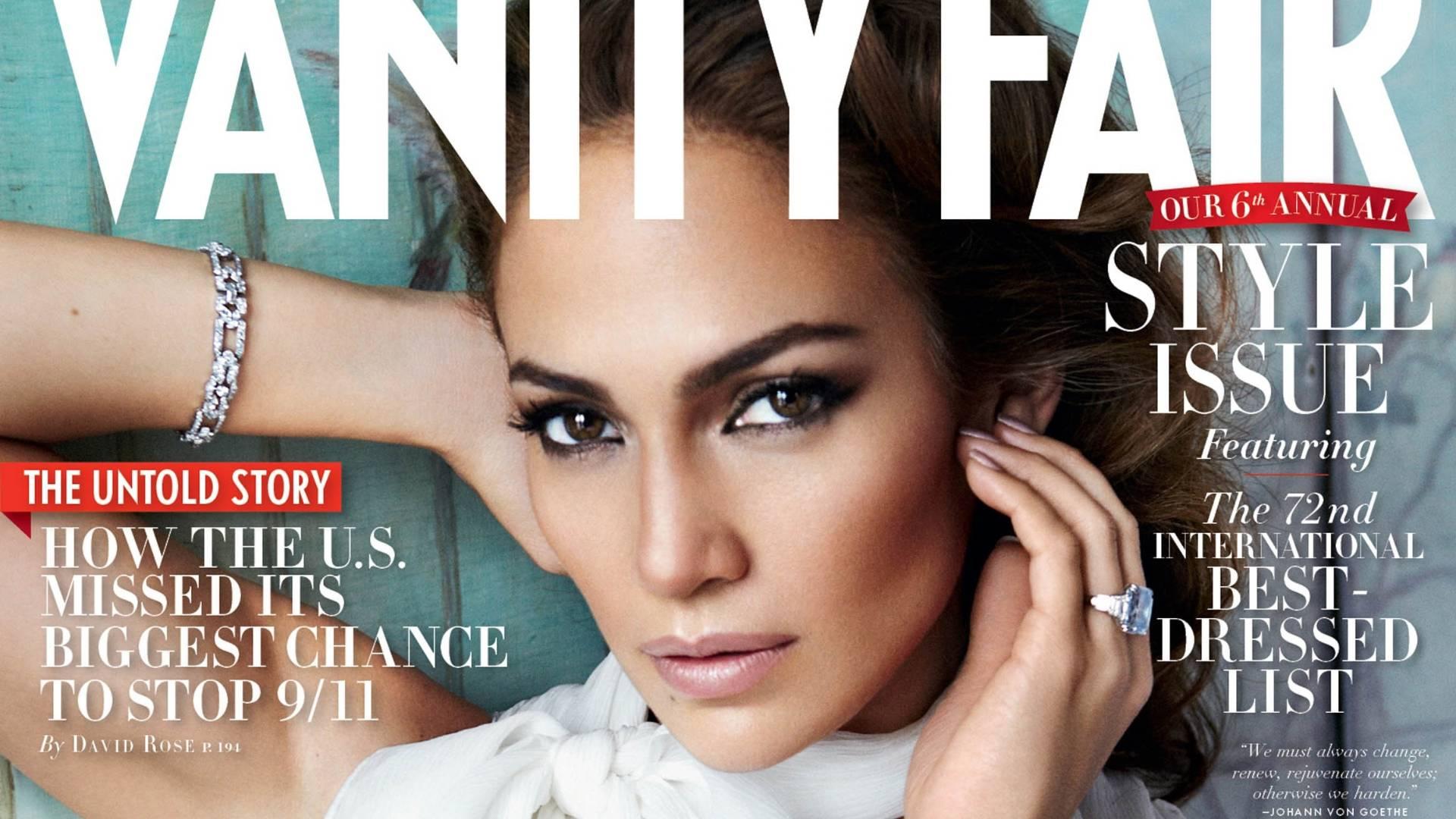 A cantora e atriz Jennifer Lopez na capa da edição de setembro de 2011 da Vanity Fair