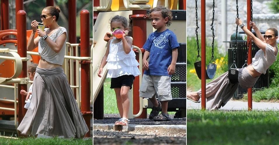 Após separação, Jennifer Lopez passeia com os filhos e se diverte em parque (31/7/11)