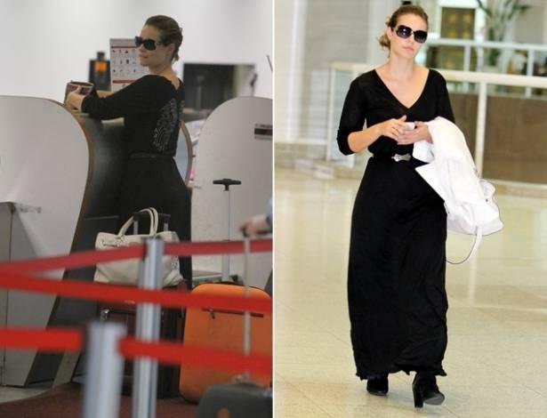 Paola Oliveira circula toda vestida de preto pelo aeroporto Santos Dumont, no Rio (2/8/11)