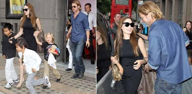 Angleina Jolie e Brad Pitt levam filhos a teatro, em Londres (6/8/11)