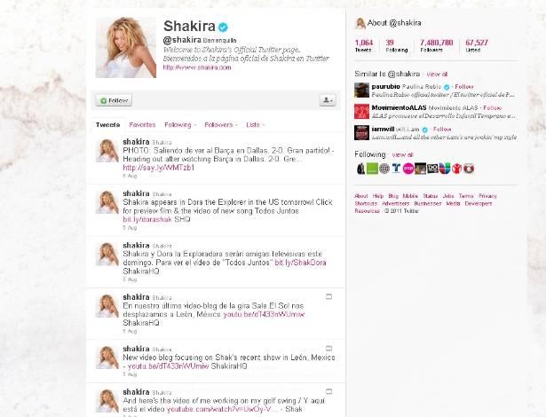 Página do Twitter da cantora colombiana Shakira (8/8/2011)