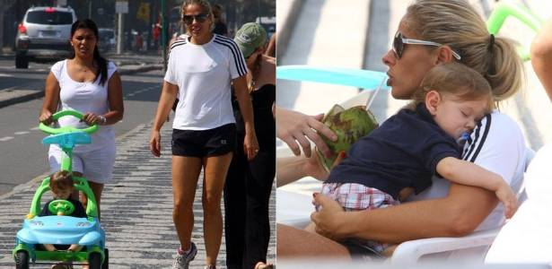 Adriane Galisteu passeia com o filho Vittorio no Leblon, na zona sul do Rio (9/8/2011)