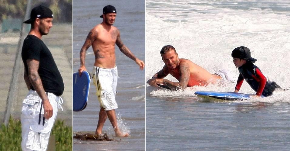 David Beckham surfa em Malibu com os filhos (12/8/11)