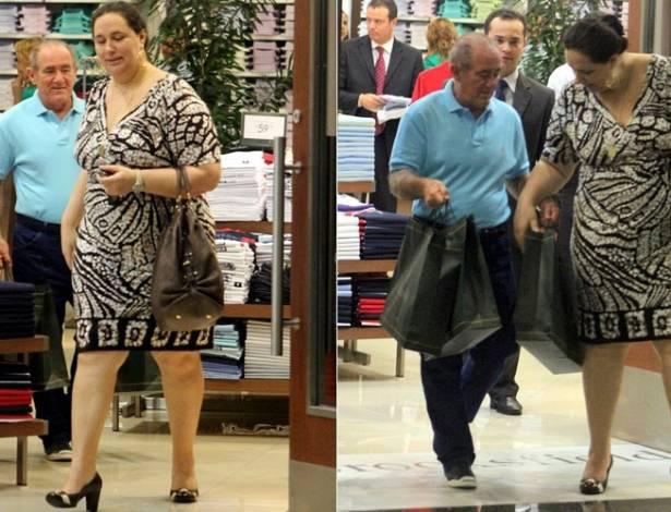 O humorista Renato Aragão e sua mulher, Lilian Aragão, vão às compras em um shopping do Rio de Janeiro. O casal tem uma filha, Lívian, que é atriz e modelo (15/8/2011)