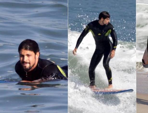 O ator Cauã Reymond surfa na praia da Macumba, na zona oeste do Rio de Janeiro. Atualmente, Cauã dá vida ao cangaceiro Jesuíno em