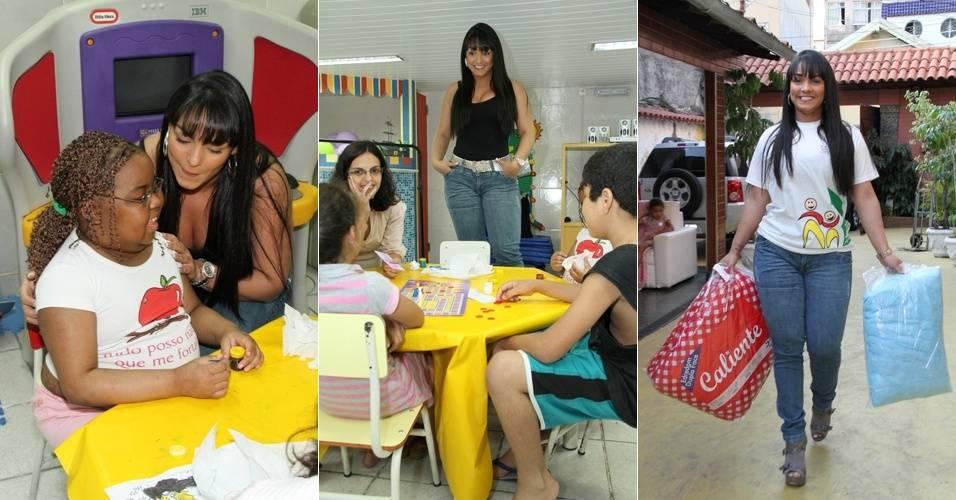 Andressa Soares, a Mulher Melancia, visita a Casa de Apoio à Criança com Câncer Santa Teresa (CACCST), no bairro do Estácio, no Rio de Janeiro (18/8/11)