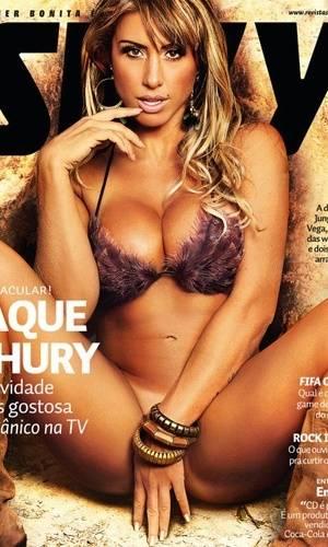 """A nova panicat e ex-BBB Jaque Khury é a capa da """"Sexy"""" de setembro. A imagem foi divulgada nesta segunda-feira (22), no perfil do Facebook da revista (22/8/11)"""