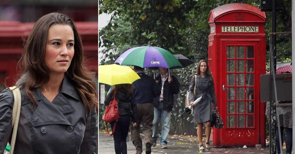 Pippa Middleton, irmã da duquesa Kate, é fotografada indo trabalhar, em Londres (23/8/11)