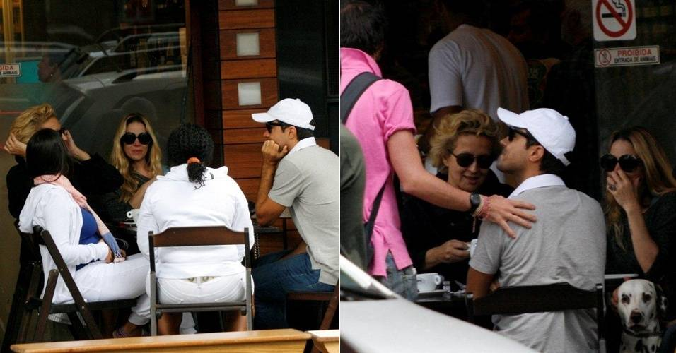Betty Lago, Dani Winits e Ricardo Pereira se encontram para tomar café no Leblon (27/8/11)