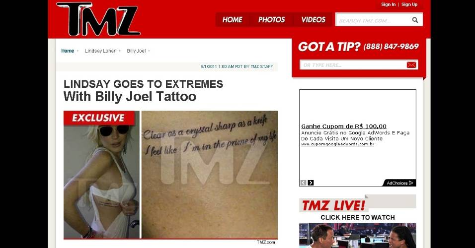 TMZ publica foto de Lindsay Lohan mostrando tatuagem com letra de msica de Billy Joel (1/9/2011)
