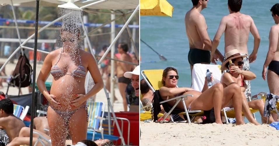 Grávida de nove meses, a atriz e apresentadora Letícia Birkheuer aproveita o feriado para ir à praia no Rio e tomar sol (7/9/11)