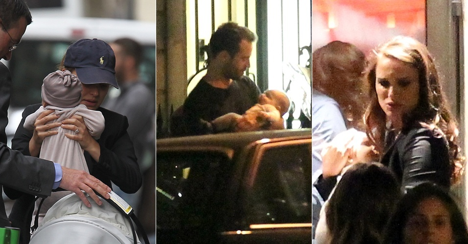 Natalie Portman e seu namorado, Benjamin Millepied, passeiam em Paris com o filho Aleph, nascido em junho (7/9/11)