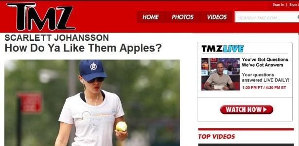 O site TMZ publicou uma foto de Scarlett Johansson comendo uma maçã em Nova York um dia após o vazamento de fotos nuas da atriz (15/09/2011)
