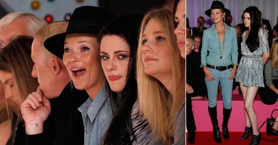 Kate Moss assiste desfile na semana de moda de Londres ao lado da atriz Kristen Stewart